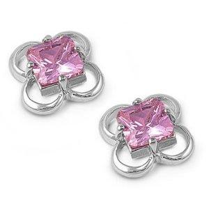 Pink gemstone plumeria flower earrings