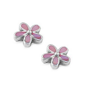 Pink plumeria earrings