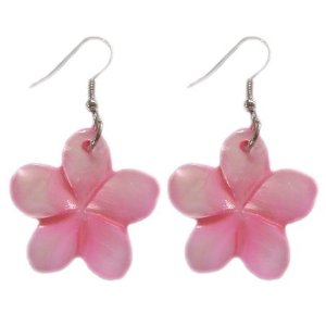 Pink seashell plumeria earrings