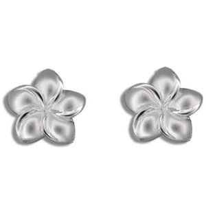 Silver plumeria flower stud earrings