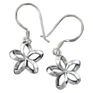 One flower silver plumeria earrings