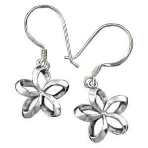 One flower silver plumeria earrings