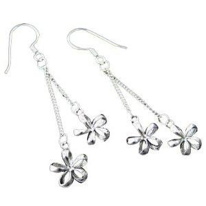 Dangle silver plumeria earrings
