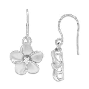 Dangling Silver plumeria earrings
