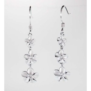 Long Danging silver plumeria earrings with three flowers