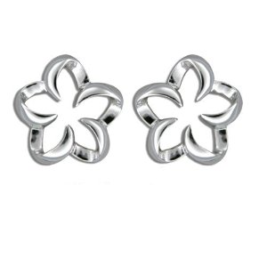 Silver studs flower outline plumeria earrings