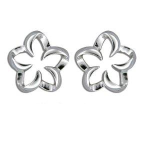 Silver studs flower outline plumeria earrings