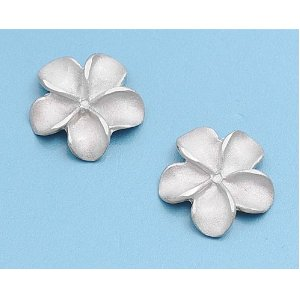 Silver stud plumeria earrings