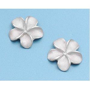 Silver stud plumeria earrings