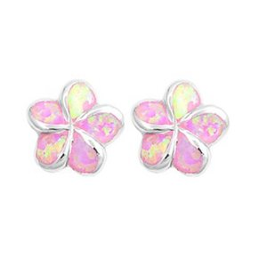 Pink opal plumeria earrings