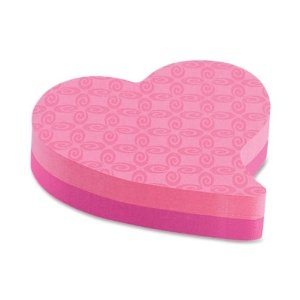Pink heart-shaped post-it notes