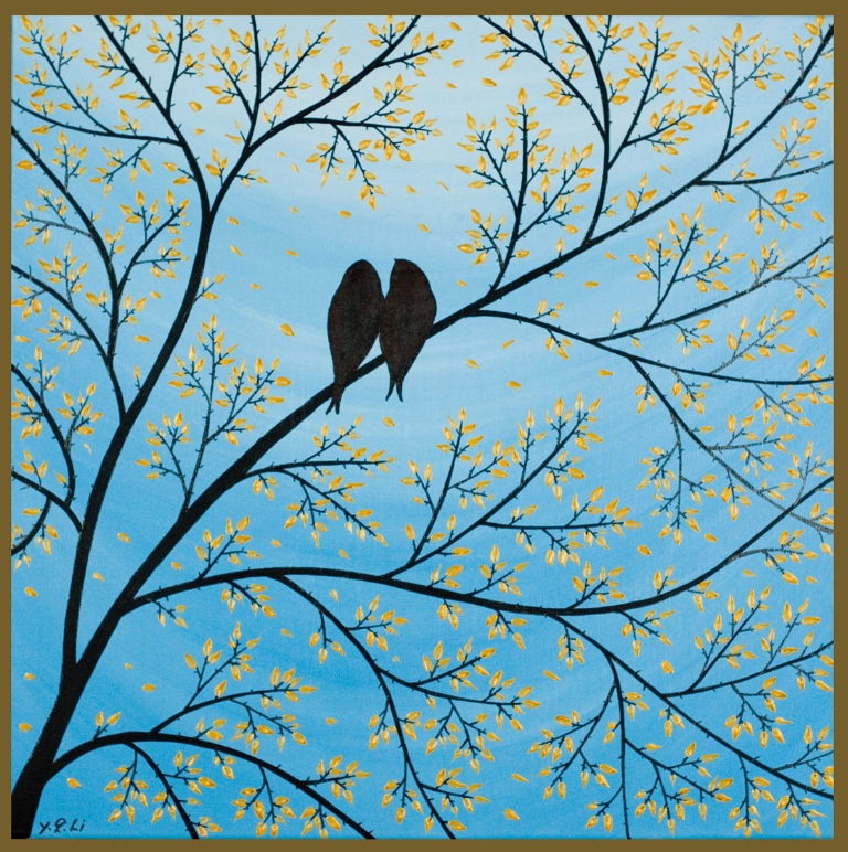 "Love bird art: ""Forever"" - birds sitting in tree silhouettes on sky blue background"
