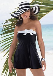 Bandeau-style Midnight navy blue swimdress with white trim and bow and Removable/adjustable white strap by ROAMANS
