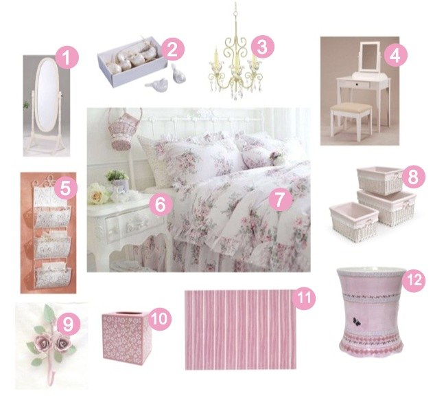 Girly Girls bedroom: White & Pink Shabby Chic Bedroom decor