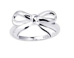 cute and simple silver bow ring