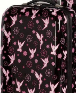 Close-up of Tinkerbell pattern on suitcase