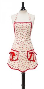 Vintage aprons: Cute Red Cherry Apron with Red Ribbon and bows