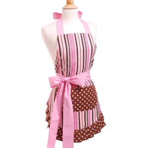 Pink apron with pink & chocolate brown stripes, polka dots and a side pink bow