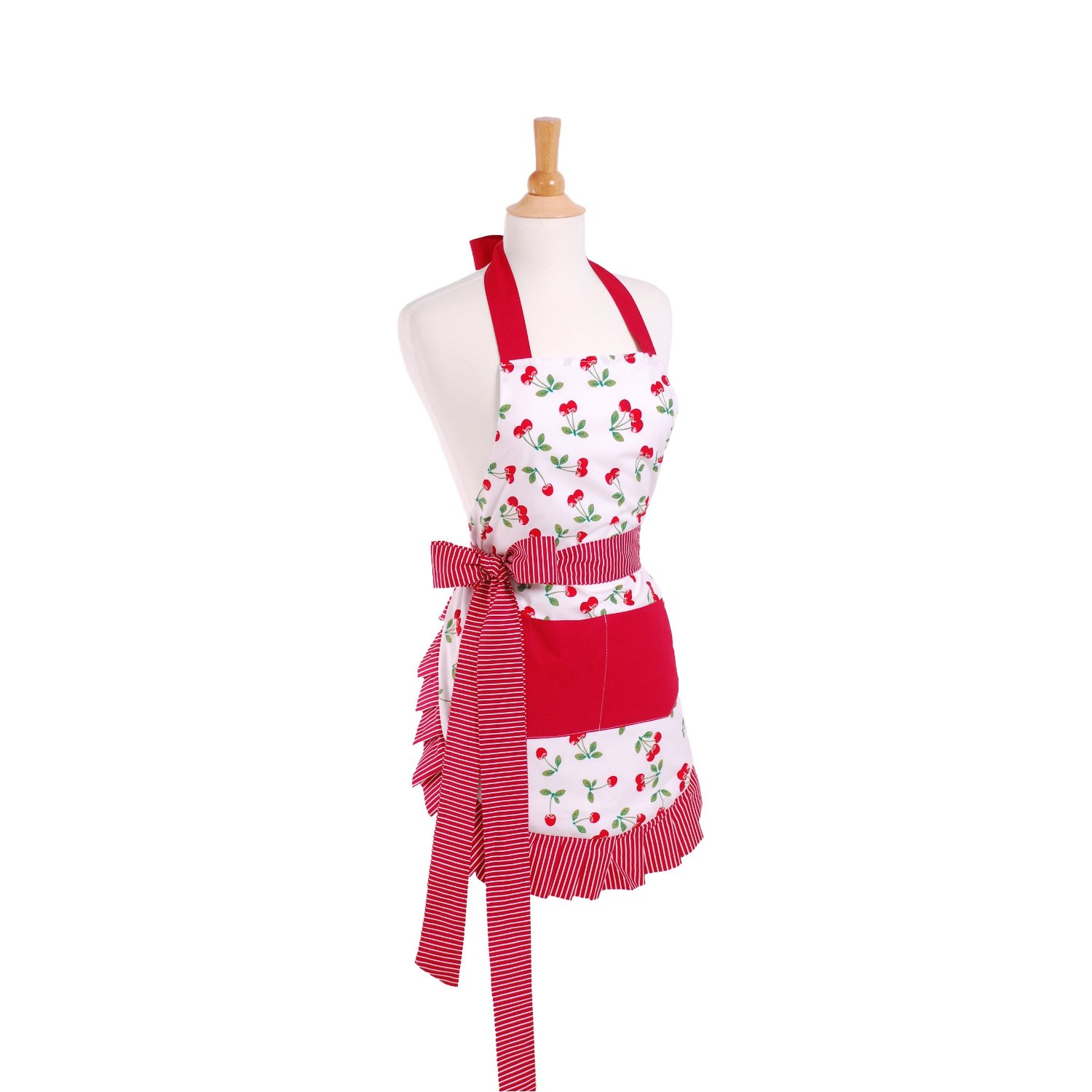 White &amp; Red Vintage style cherry apron with red bow and cute ruffle