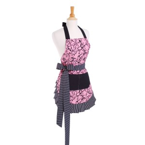 Contemporary black and pink apron with damask and bow