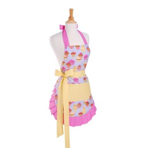 Cute Girly Retro apron: Cupcake apron with buttercream yellow bow