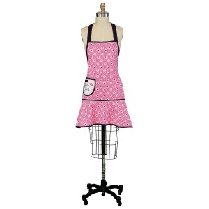 Contemporary pink apron with swirls and black trim