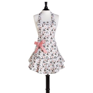 Retro / Vintage apron - Decorated with Paris Eiffel Tower and Pink Bow