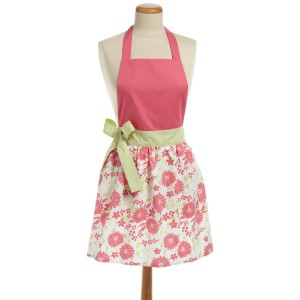 Retro / Vintage apron: Pink apron with floral print and green side bow