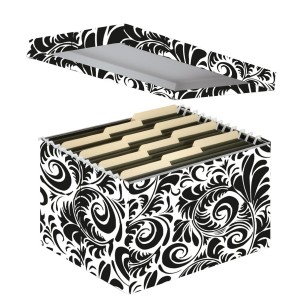Girly desk accessories: black and white damask paper file storage box 