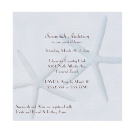 Starfish Beach Bridal Shower Invitation