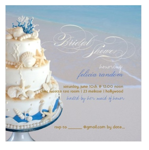 Seashells and nautical wedding cake beach bridal shower invitations