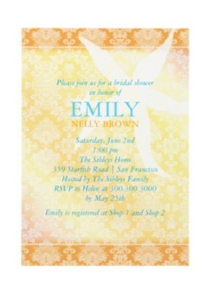 Yellow and Orange Beach Bridal Shower Invitation