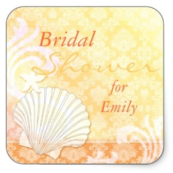 Bridal Shower envelope seals - Yellow and orange Beach Bridal Shower Theme