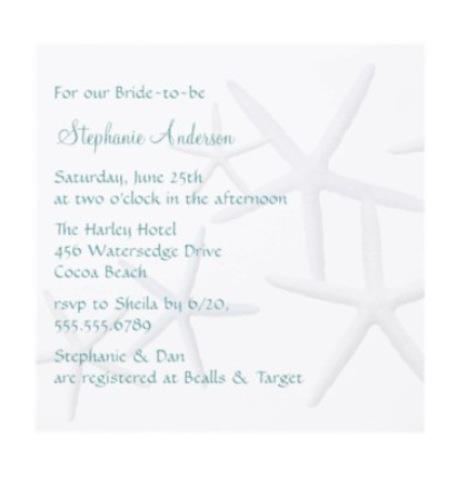 Star fish nautical bridal shower invitation