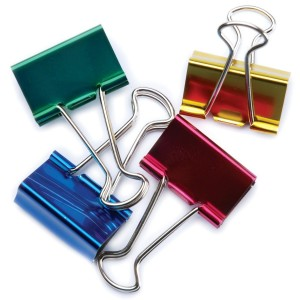 Colorful metallic binder clips - gold, pink, green & blue