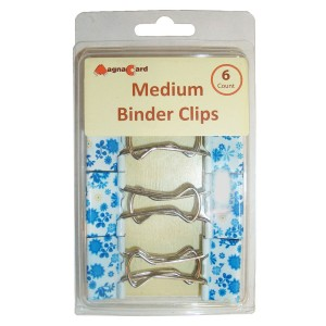 Girly desk supplies: Blue and white floral medium sized binder clips