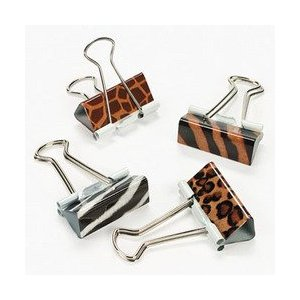 Animal print binder clips: zebra, tiger & leopard print