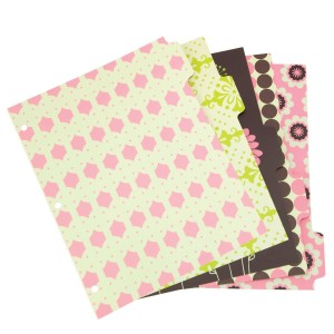 Girly desk accessories: pink, green & brown patterned binder dividers