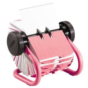 Girly desk accessories: Pink Rolodex business card rotary file