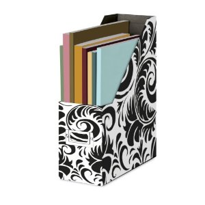 Black and White Damask Magazine File box
