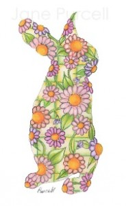 Flowery bunny art - floral animal silhouette
