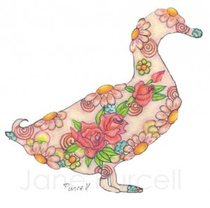 Floral duck silhouette - Floral animal art