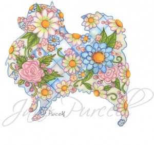 PRETTY POMERANIAN  - floral dog silhouette art