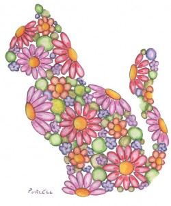 Flowery cat - floral animal silhouette