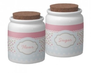 Shabby Chic Flour and Sugar Canisters / Jars for pink kitchens