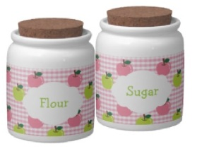 Girly pink gingham pattern and apples flour and sugar jars