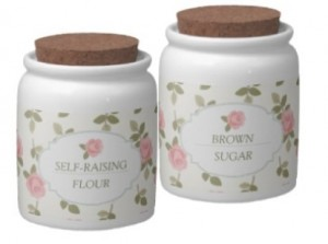 girly jars: rose floral flour and sugar kitchen canisters