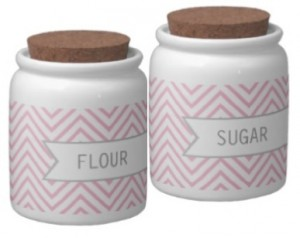 Pink kitchen accessories: Pink zigzag / chevron pattern canisters for flour and sugar