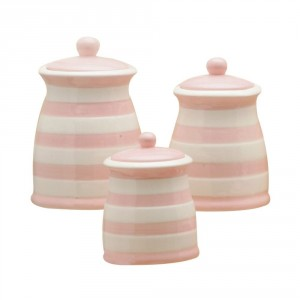 Striped white and pink jars / canisters for your pink kitchen