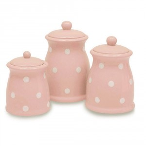 Pink and White Polka dot canisters for your pink kitchen